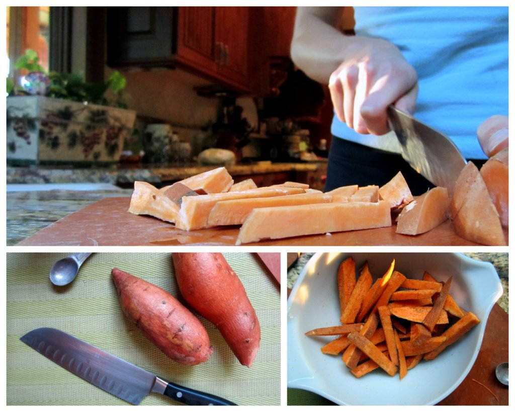 collage of slicing sweet potatoes for spicy sweet potato fries