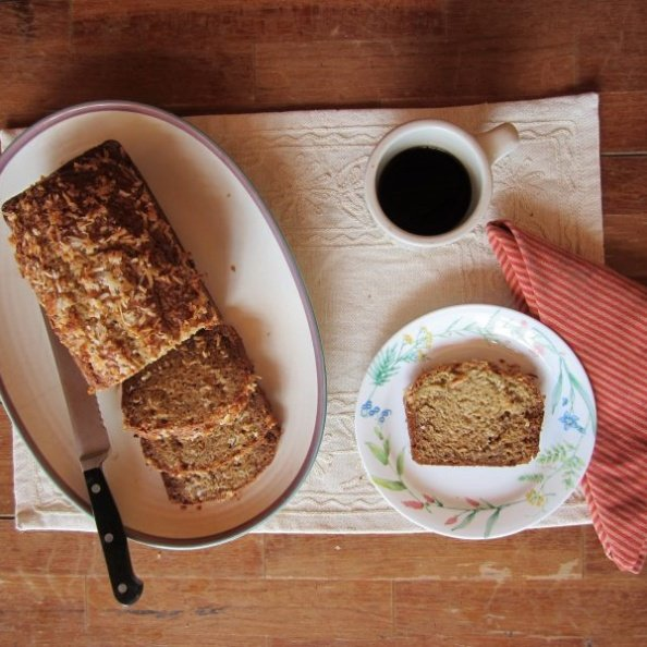 banana bread with coffee on a table