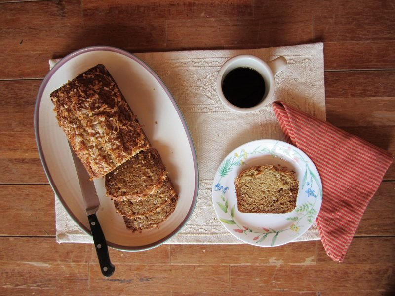 coconut banana bread on plates