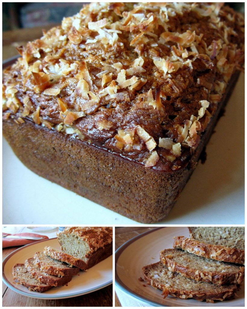 collage of coconut banana bread