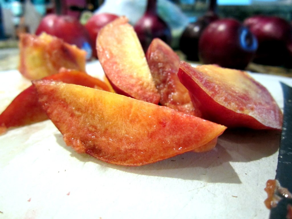 peaches on a board