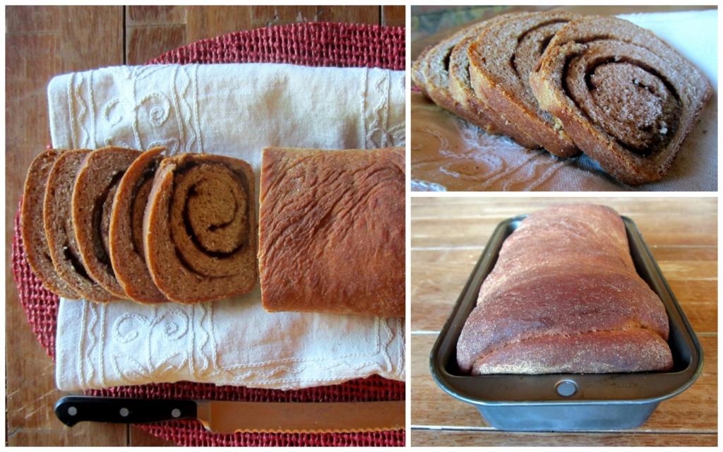 collage of cinnamon swirl bread
