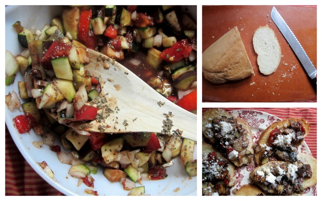 collage of making eggplant and zucchini bruschetta