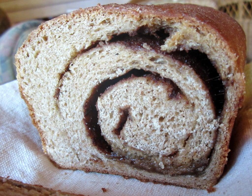 the inside of whole wheat cinnamon swirl bread