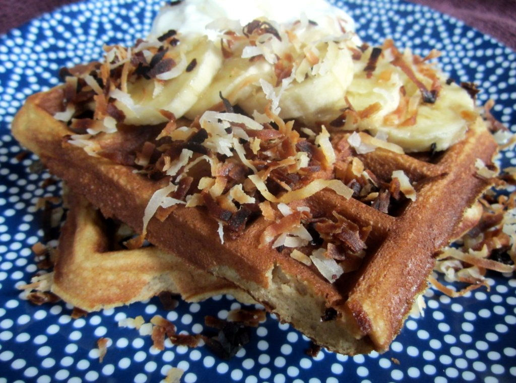 banana coconut flour waffles on a plate