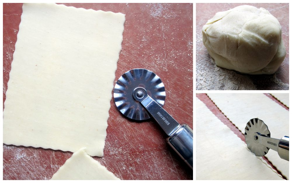 step-by-step photo collage of cutting dough for pumpkin poptarts