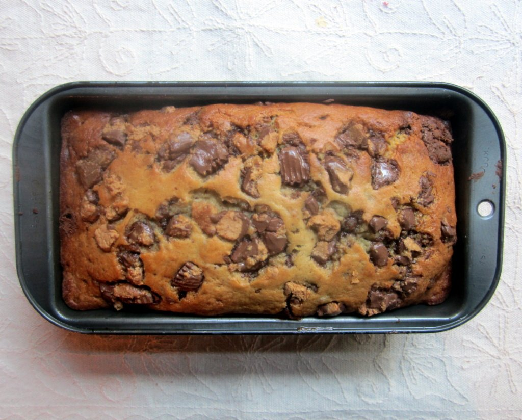 loaf of peanut butter cup banana bread
