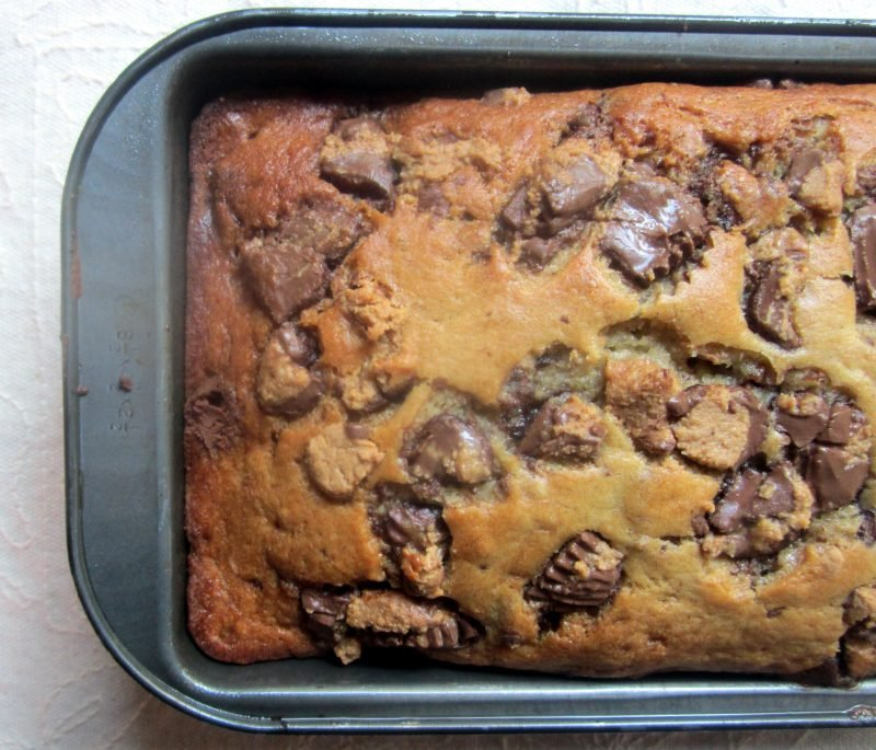 peanut butter cup banana bread in a loaf pan