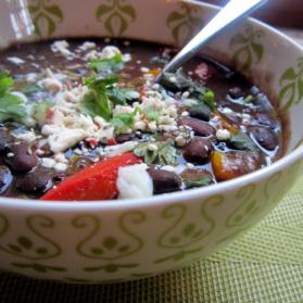 caribbean black bean soup in a bowl