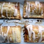 four pop tarts with cream cheese drizzle