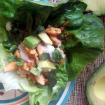 Buffalo Chicken Lettuce Wraps with Avocado & Blue Cheese Sauce