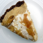 slice of pumpkin mousse pie on a plate