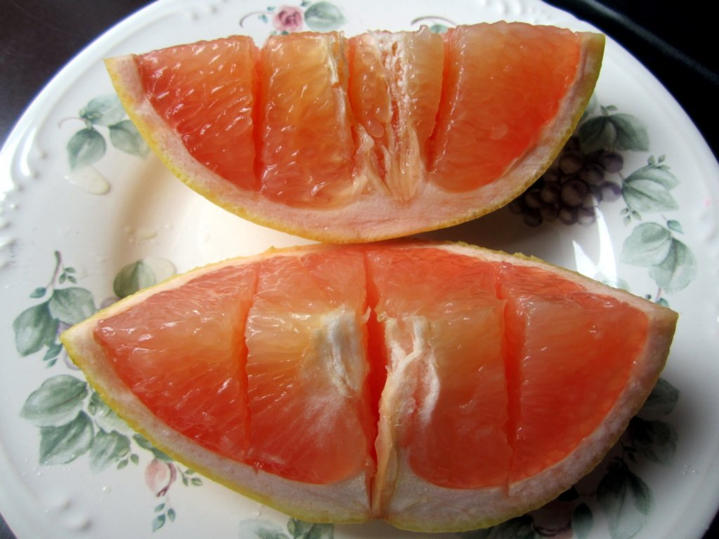 grapefruit segments on a plate
