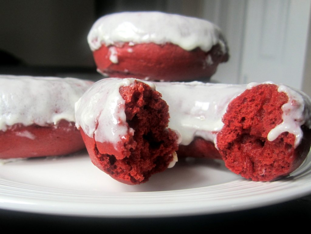 red velvet donuts on a plate