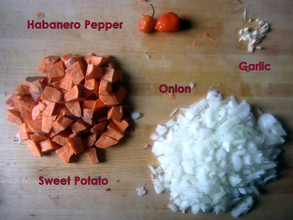 ingredients for vegetarian sweet potato bean chili