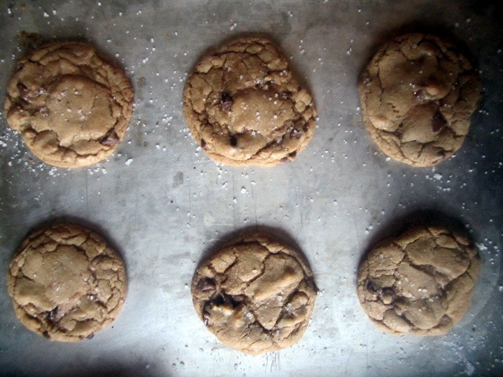 tray of brown butter chocolate chip cookies