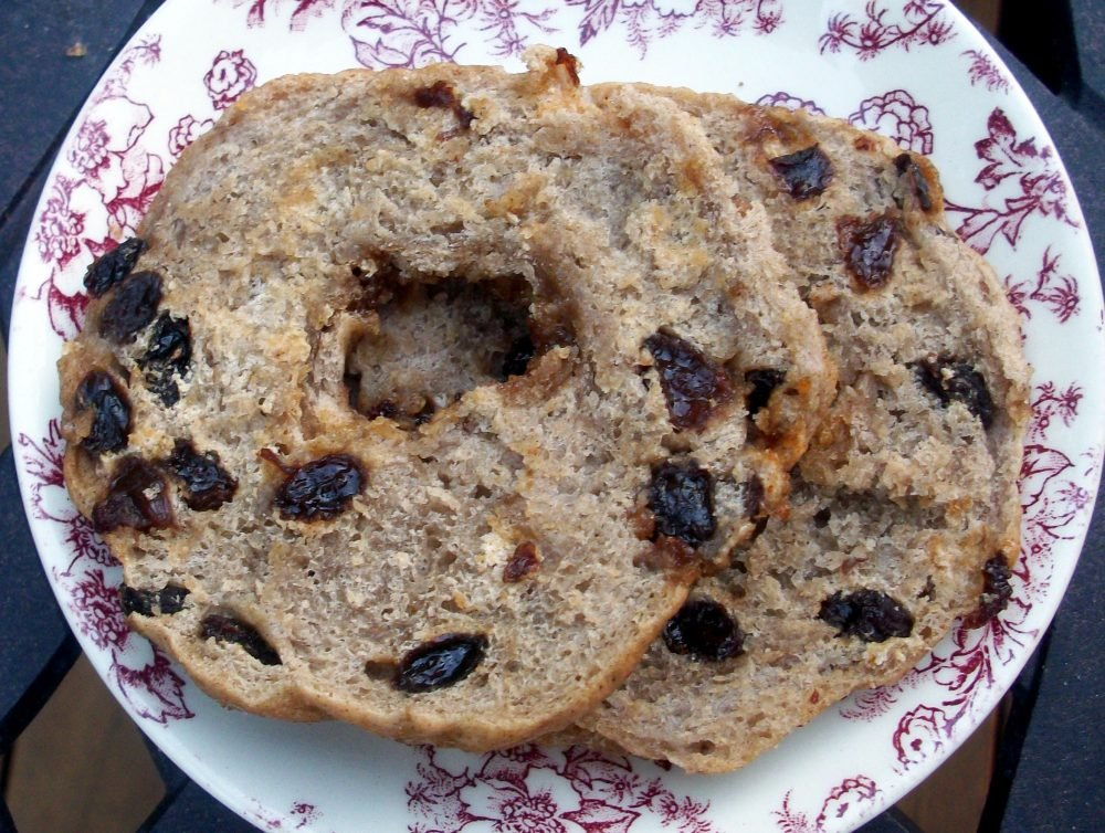 Deliciously chewy homemade cinnamon raisin bagels baked and boiled to perfection. This easy bagel recipe uses simple ingredients will be your new go-to! Add cream cheese, butter, or your favorite nut butter for the ultimate breakfast.