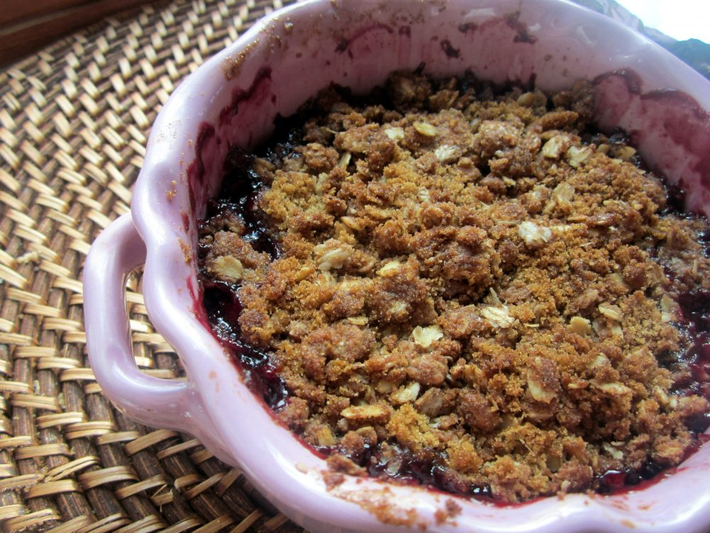 Gorgeous gluten-free blueberry apple crumble delicious served warm with vanilla ice cream. This summertime treat is a great way to use fresh berries and perfect for your next BBQ!
