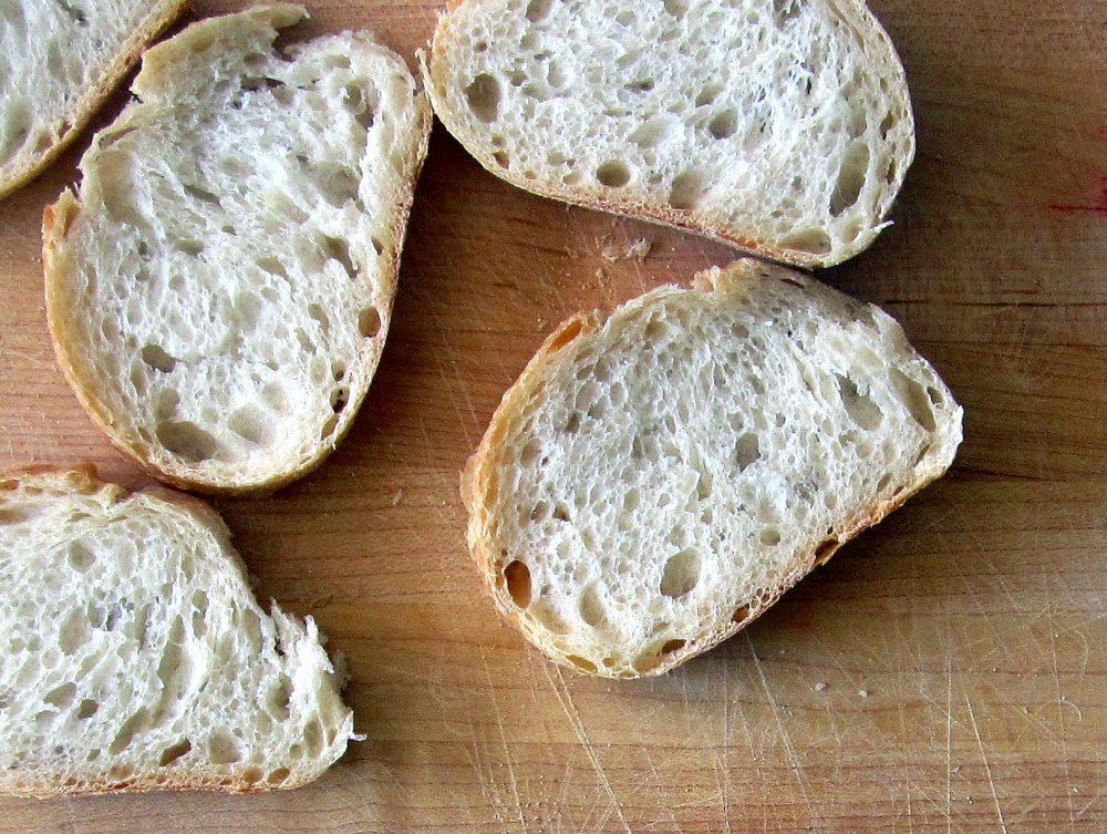 slices of bread to make strawberry, basil & goat cheese bruschetta
