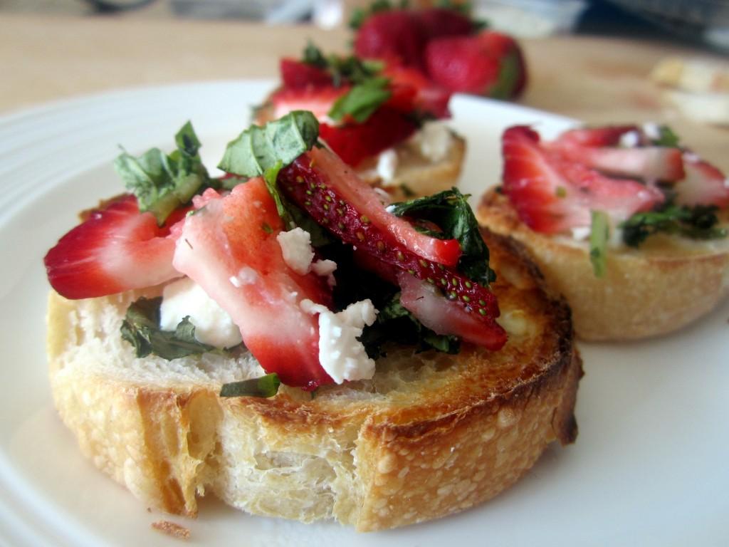 Strawberry, Basil & Goat Cheese Bruschetta | Ambitious Kitchen