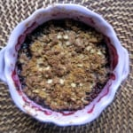 blueberry apple crumble in a bowl