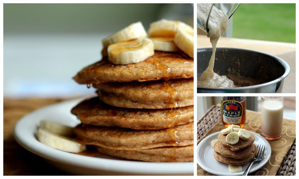 collage of fluffy quinoa pancakes