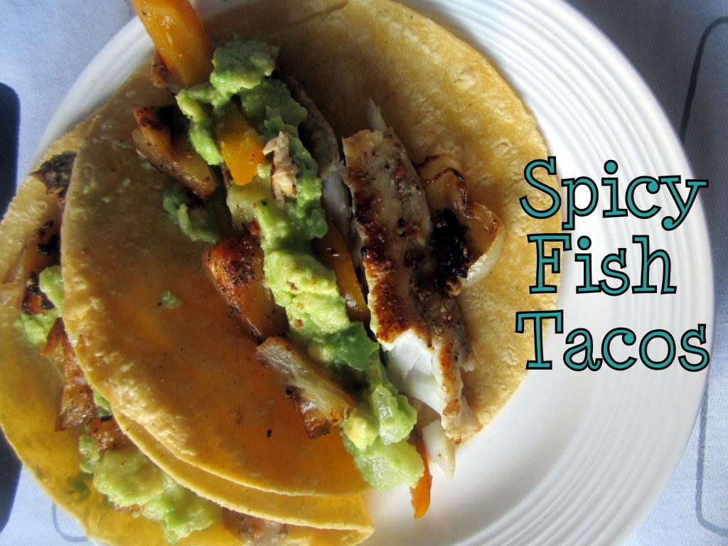 Spicy Fish Taco... Guacamole And Tortilla Chips Healthy