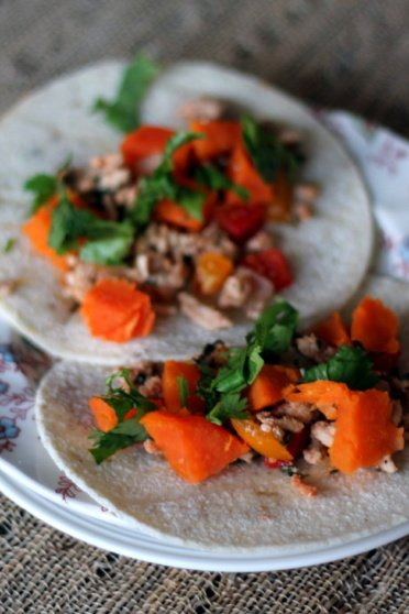 sweet potato & chicken Mexican stir fry tacos on a plate