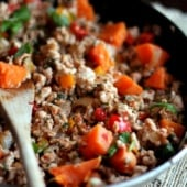 Sweet Potato & Chicken Mexican Stir-Fry in a skillet