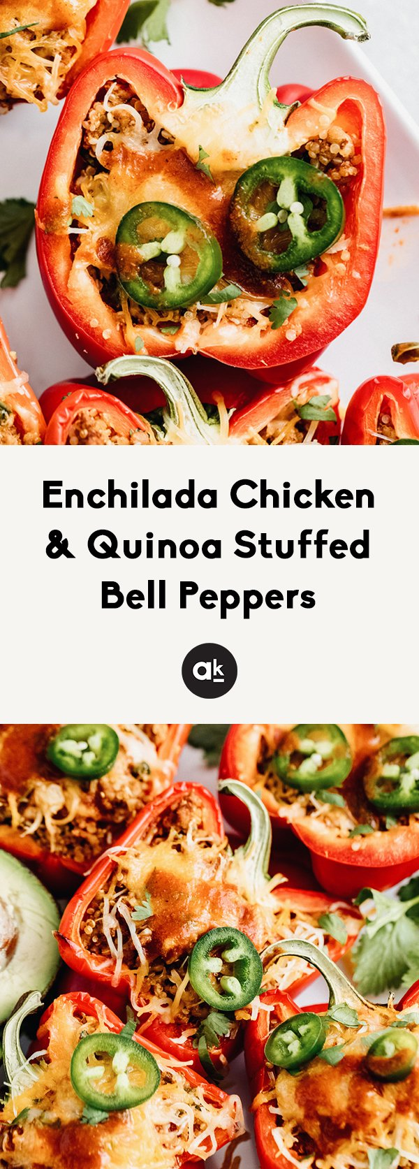 Delicious, protein-packed enchilada chicken & quinoa stuffed bell peppers with melty cheese and fresh jalapeño. This easy weeknight dinner recipe is loaded with incredible spices and perfect for meal prep!