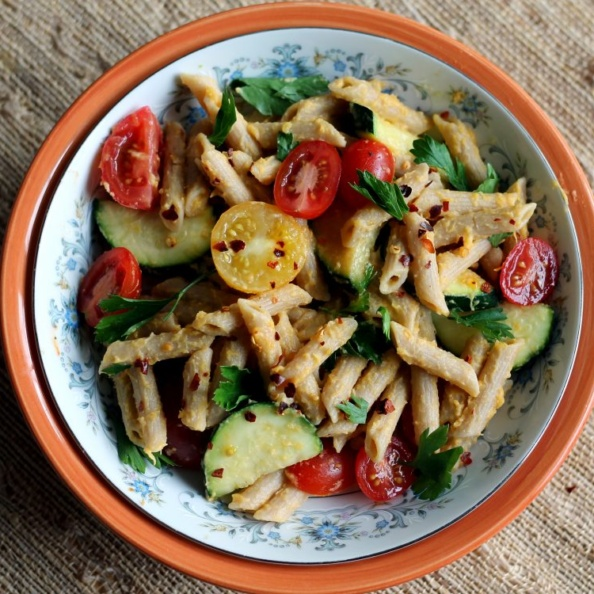 Delicious, healthy spring veggie pasta recipe from Healthyeats.com that's tossed in an incredible sauced. Plus, a life update from me!