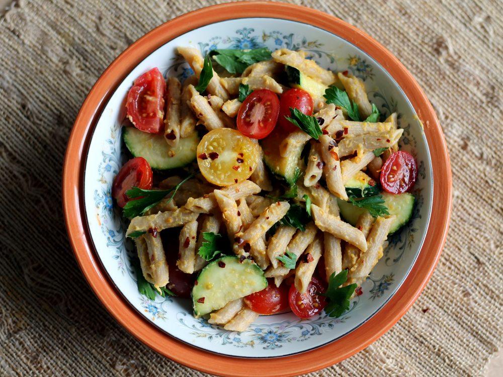 Healthy spring veggie pasta