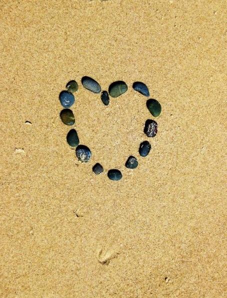 Heart shaped in rocks on the beach