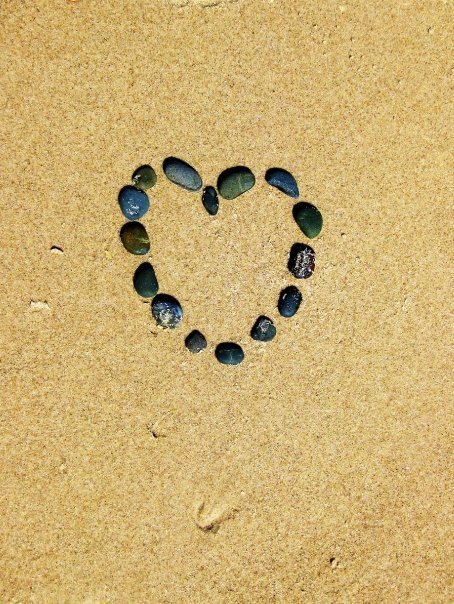 Heart shaped out of rocks on the beach