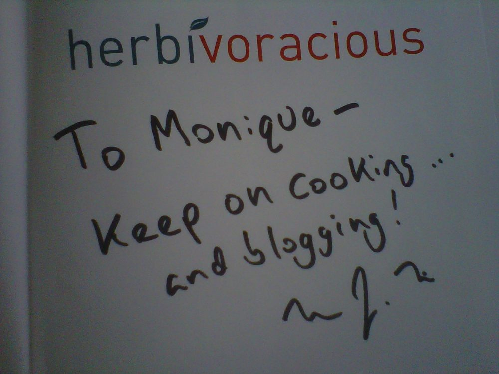 Handwritten note in the herbivoracious cookbook