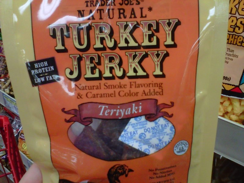 Package of Trader Joe's natural turkey jerky