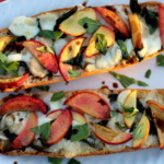 Peach, Basil, and Brie French Bread Pizzas