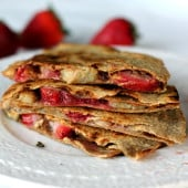 Delicious Peanut butter, Strawberry, & Banana Quesadillas from ambitiouskitchen.com