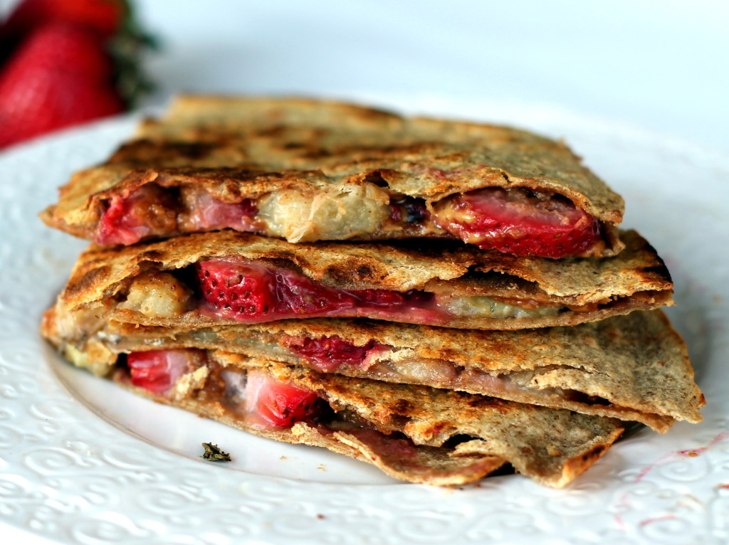 Peanut butter, Strawberry, & Banana Quesadillas from ambitiouskitchen ...