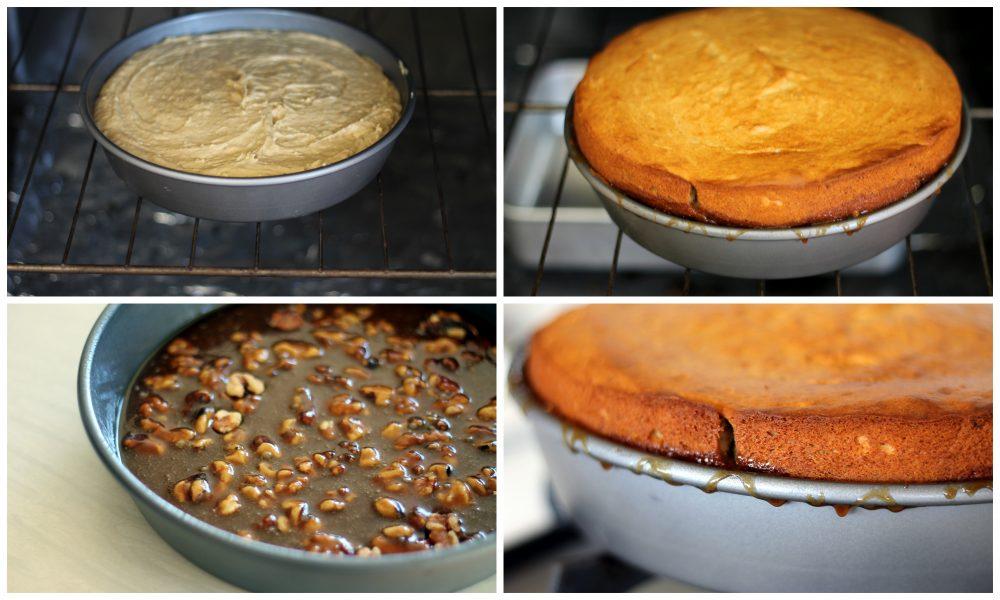 Baking a caramel walnut upside down peanut butter banana cake
