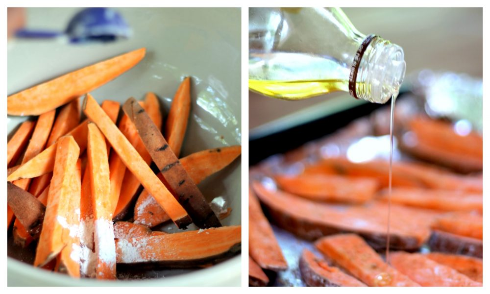 Making crispy baked sweet potato fries