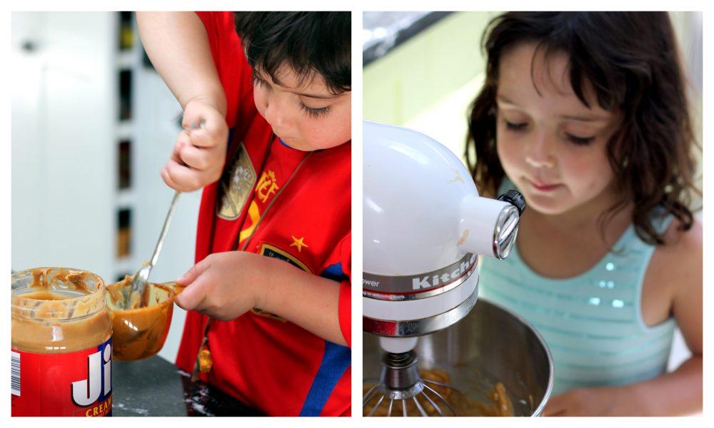Two kids baking cookies