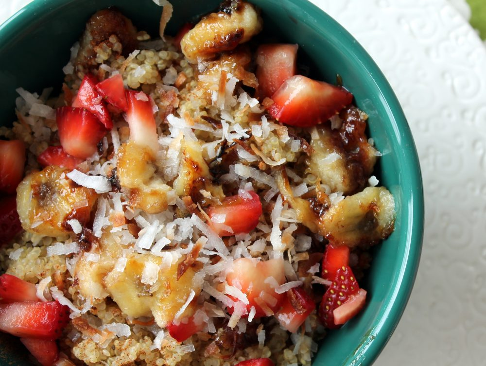 Vegan and gluten free strawberry banana breakfast quinoa