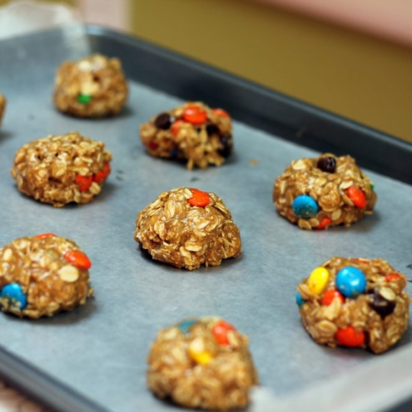 The best monster cookies you'll ever make with oats, delicious peanut butter flavor, and sweet chocolate candies. Add the dry ingredients to a mason jar for a great gift!