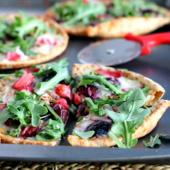 Roasted Balsamic Strawberry Cherry Pita Pizzas with Arugula via ambitiouskitchen.com
