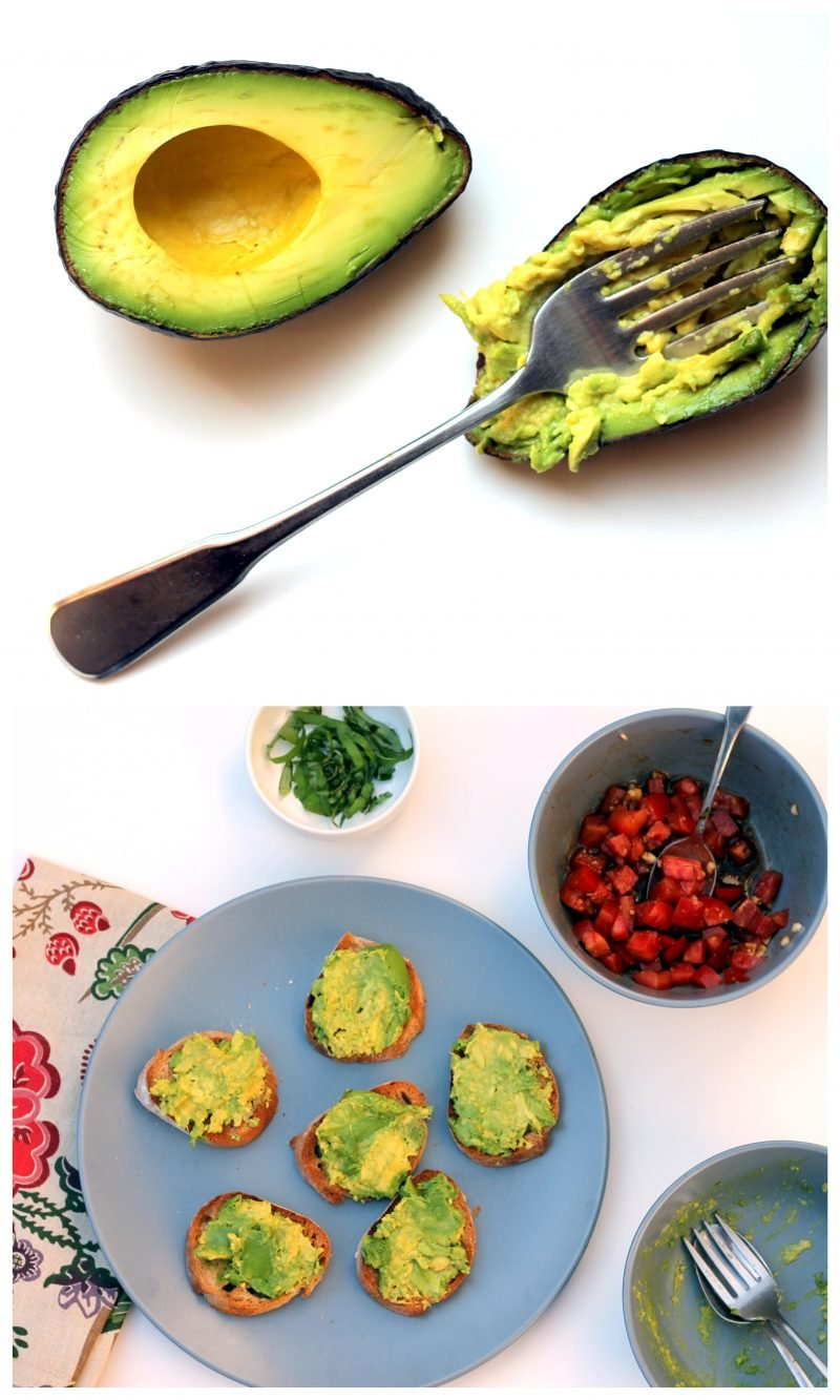Collage of avocado being mashed for tomato basil bruschetta