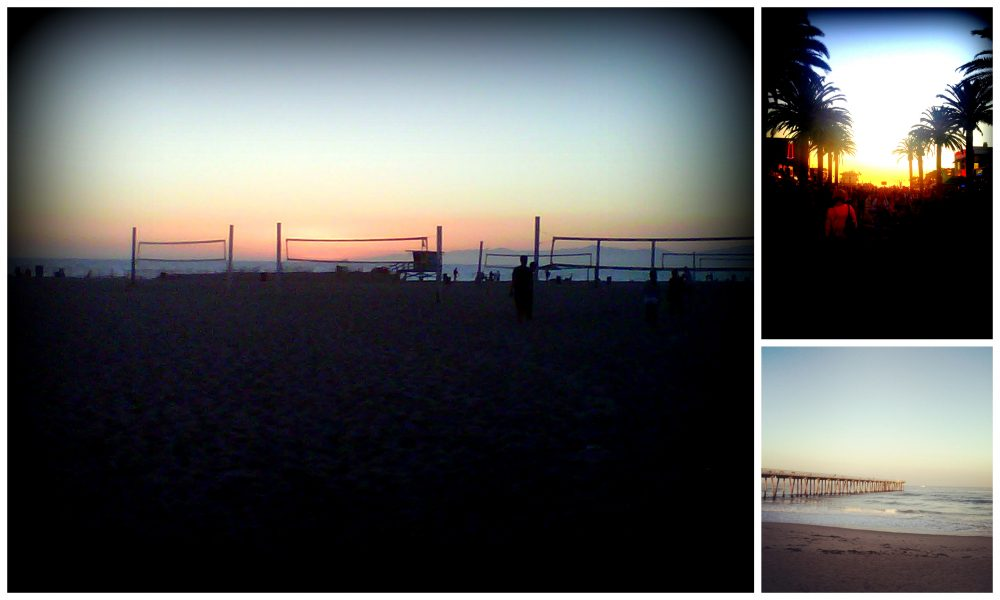 Collage of sunsets over beaches