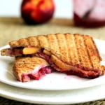 Grilled Goat Cheese Sandwiches with Peaches + Raspberry Jam