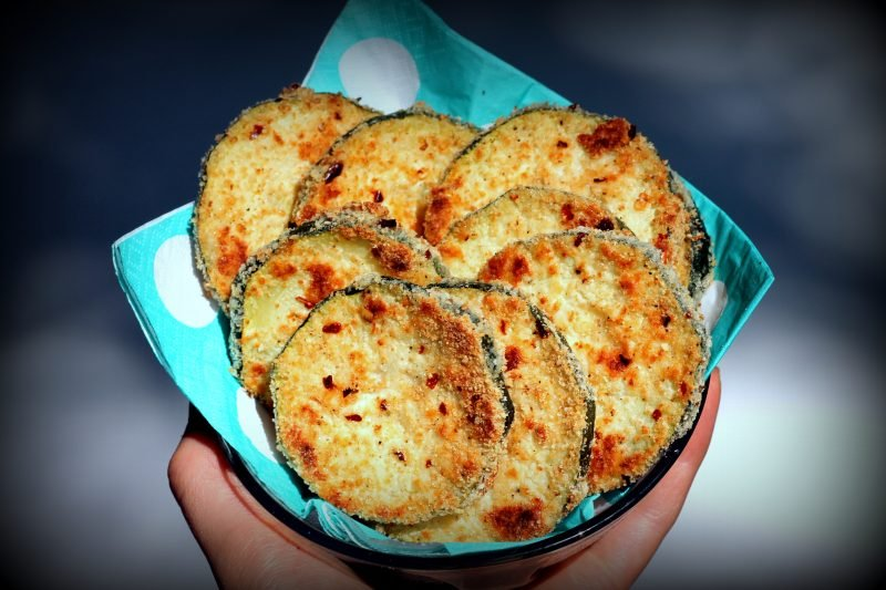Baked parmesan zucchini chips in a bowl
