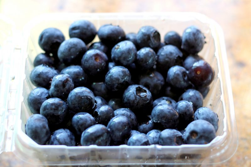 Blueberries in a container